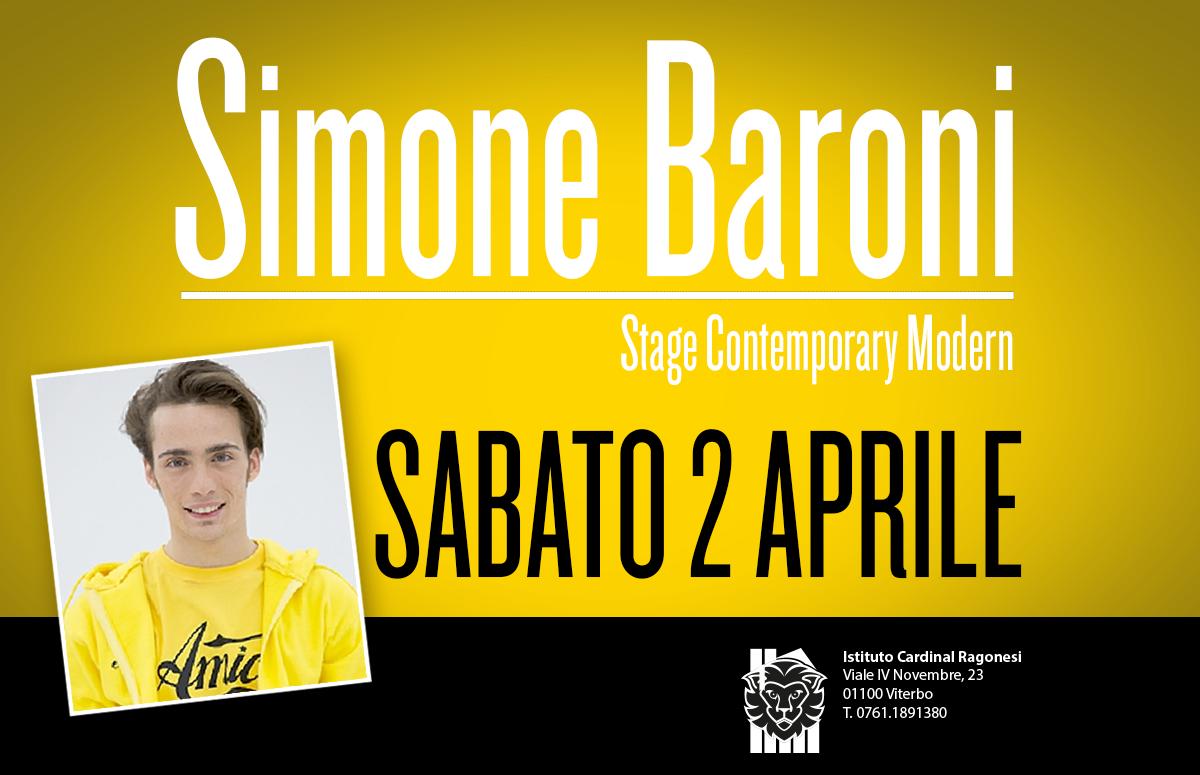 Simone Baroni news copertina - Simone Baroni - Stage Contemporary Modern - Sabato 2 Aprile 2016 - Scuola di Danza Ragonesi
