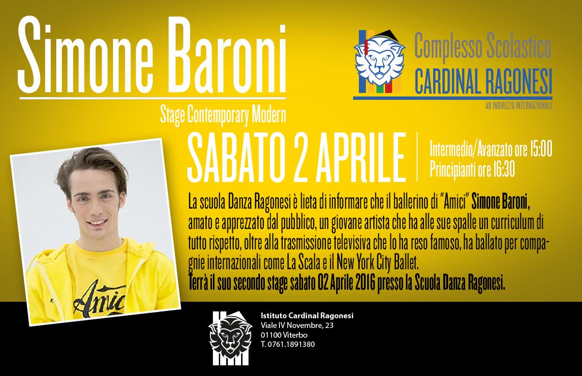 Simone Baroni news - 02 Aprile. Scuola di Danza Ragonesi - Stage Contemporary Modern con Simone Baroni