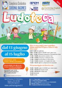 Ludoteca estiva 2016 Ragonesi locandina 212x300 - 13 Giugno. Ludoteca Estiva - Summer playtime 2016.