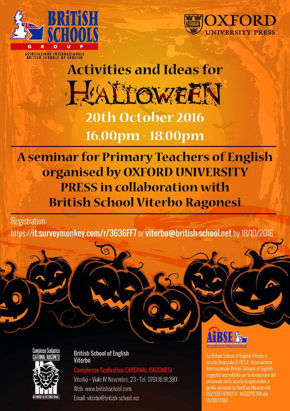 "Activities and Ideas Halloween Seminario OxfordUP BritishViterbo - Seminario ""Activities and Ideas for Halloween"" Oxford University Press"