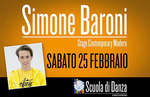 Simone Baroni news copertina 2017 - Sabato 25 febbraio. Scuola Danza. Stage con Simone Baroni