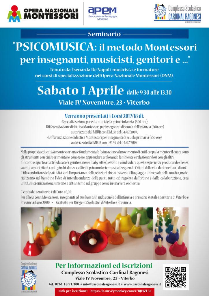 Seminario Montessori Psicomusica Viterbo 01 aprile 2017 Locandina 724x1024 - 1 aprile. PSICOMUSICA: il metodo Montessori per insegnanti, musicisti, genitori e ...