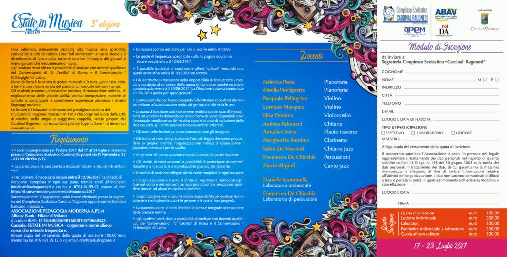 2017 Estate in Musica Viterbo 2017 brochure interno 1024x520 - 17 - 23 luglio. Estate in Musica 2017 • 3a edizione