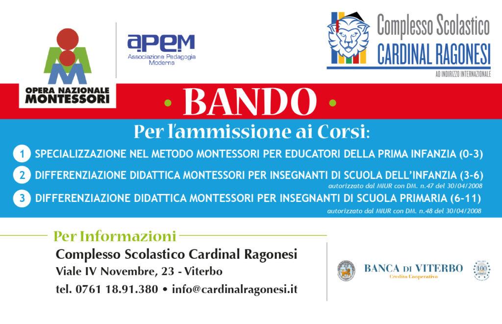 BANDO CORSI ONM2017 NEWS 1024x661 - 12 giugno. Corsi Montessori Viterbo. Scadenza domanda ammissione.