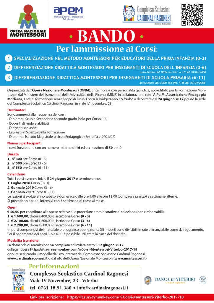 Locandina UNICA BANDOCORSI 2017 2 724x1024 - 12 giugno. Corsi Montessori Viterbo. Scadenza domanda ammissione.