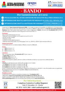 bozza Locandina settembre UNICA BANDOCORSI 0 3 212x300 - Corsi Montessori Viterbo. Scadenza domanda ammissione - 16 Settembre 2017 .