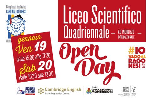 evidenza ILICEOopenday - OPEN DAY - Venerdì 19 e Sabato 20 gennaio- LICEO SCIENTIFICO QUADRIENNALE