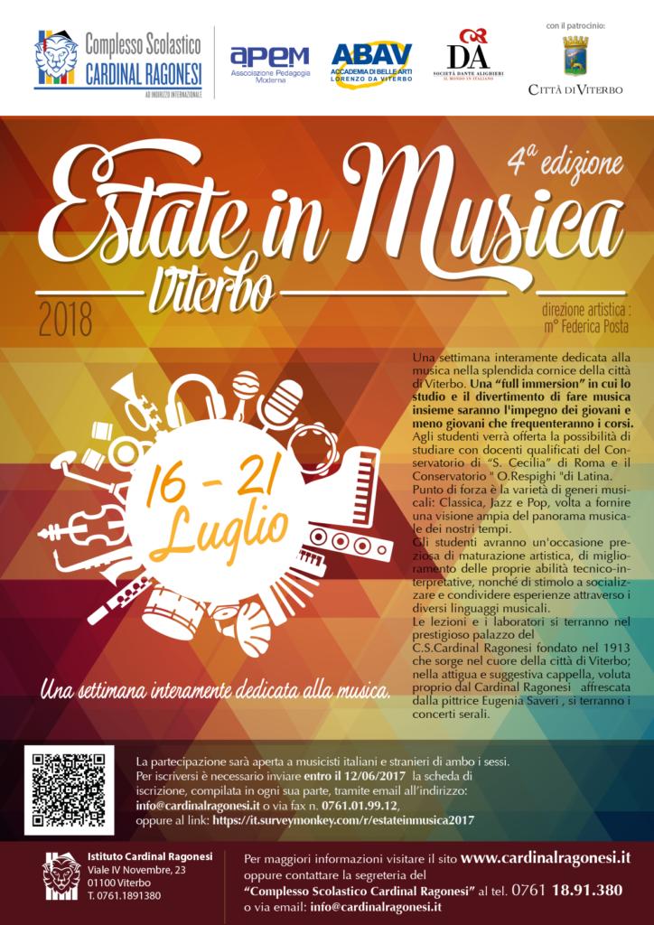LOCANDINA Estate in Musica 2018 724x1024 - 16-21 luglio - Estate in Musica Viterbo 4a edizione