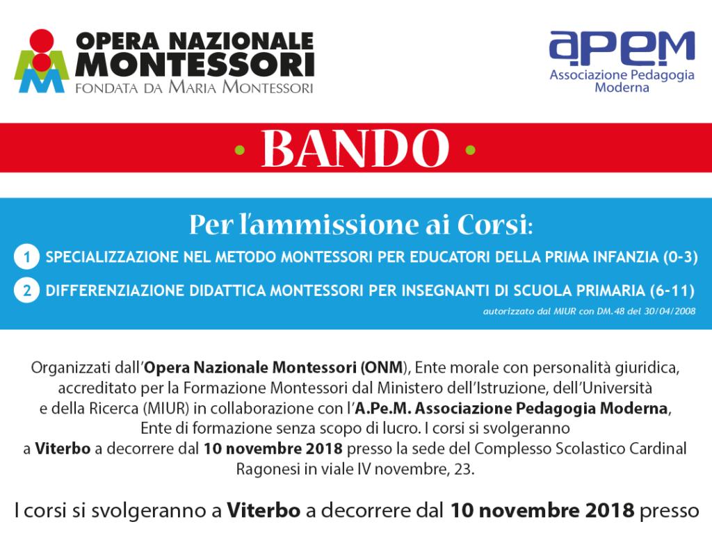 2 BANDOCORSI ONM 2018 NEWS 1024x787 - BANDO • Corsi Montessori Viterbo 2018/2019