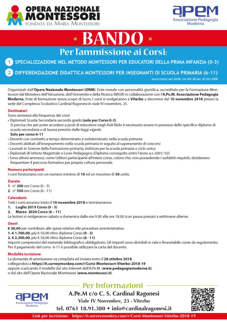 APEM BANDO ottobre Corsi Montessori Viterbo 2018 19 724x1024 - BANDO • Corsi Montessori Viterbo 2018/2019