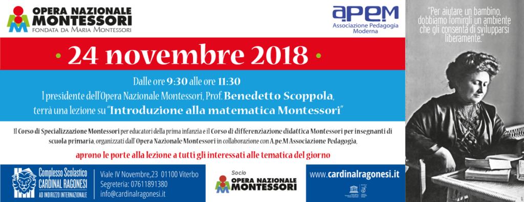 """FB 2l MONTESSORI novembre2018  1024x396 - 24 novembre 2018 lezione su """"Introduzione alla matematica Montessori"""""""