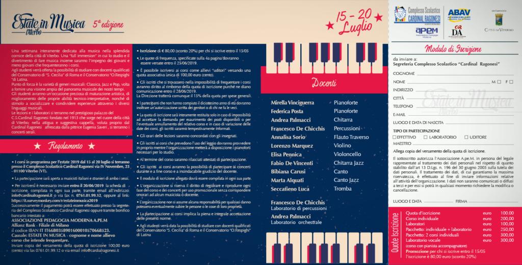 2019 Estate in Musica pieghevole RAGONESI interno 2 1 1024x520 - 15-20 luglio - Estate in Musica Viterbo 5a edizione