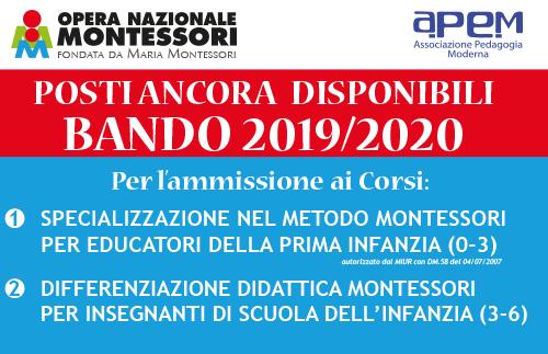 EVIDENZA NEWS 2 Bando Montessori 2019 20 - BANDO Corsi Montessori 2019/2020 - POSTI ANCORA  DISPONIBILI
