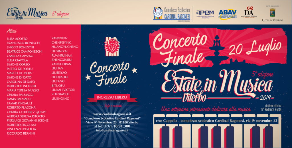 2019 EiM RAGONESI concerto esterno 1024x520 - Concerto Finale Sabato 20 luglio - Estate in Musica Viterbo 5a edizione - ingresso libero