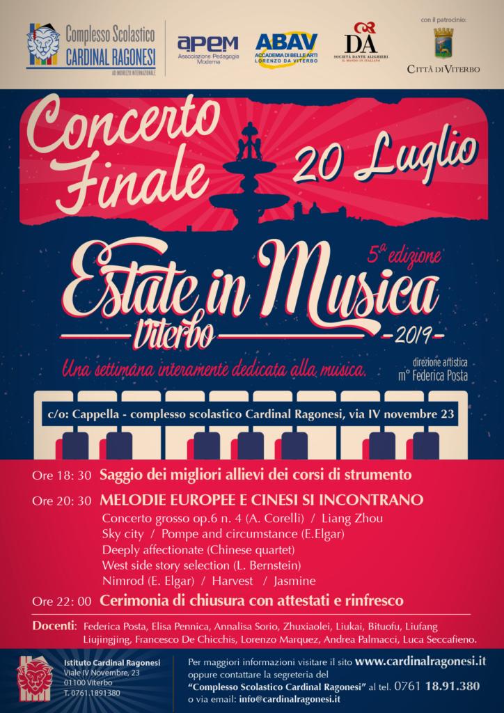LOCANDINA CONCERTO Estate in Musica 2019 724x1024 - Concerto Finale Sabato 20 luglio - Estate in Musica Viterbo 5a edizione - ingresso libero