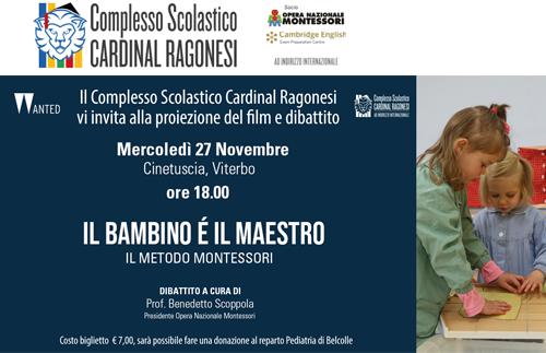 """EVIDENZA filma il bambino e il maestro - Invitiamo alla visione del film """"Il bambino è maestro"""" Il metodo Montessori"""
