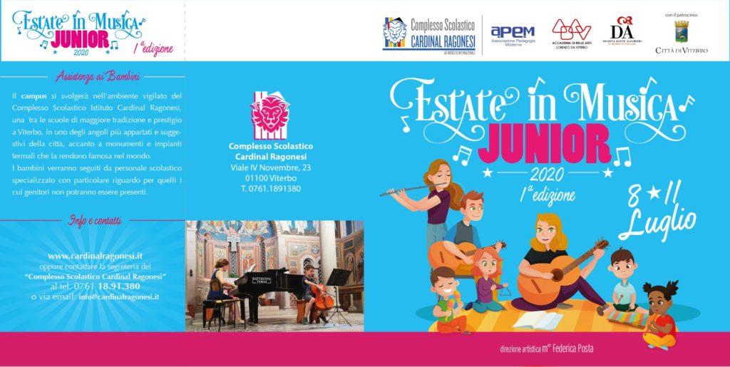 2020 Estate in Musica JUNIOR RAGONESI esterno 1024x515 - 8-11 luglio 2020- Estate in Musica Viterbo JUNIOR 1a edizione
