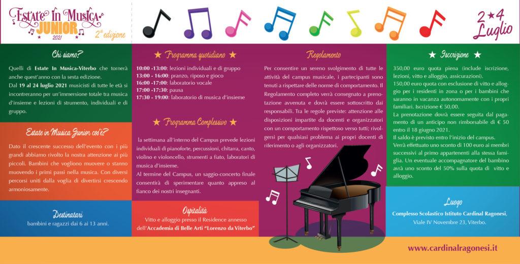 2021 Estate in Musica JUNIOR RAGONESI interno 01 1024x520 - 2/4 luglio 2021- Estate in Musica Viterbo JUNIOR 2a edizione