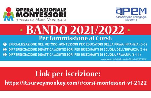 Evidenza BANDO Montessori20 21 - BANDO Corsi Montessori 2021/2022