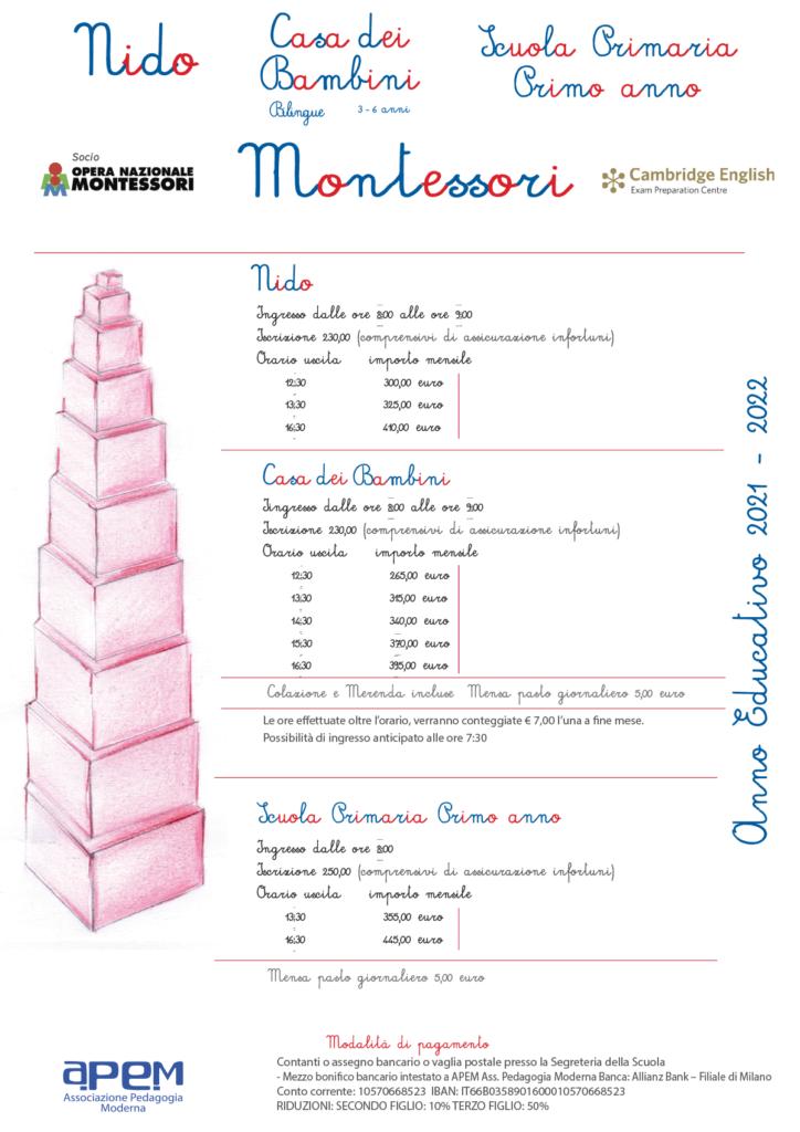 listino esterni Nido e CasaBambini 21 22 724x1024 - NIDO e Casa dei Bambini • Montessori